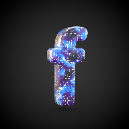 Acrylic pouring letter F lowercase. 3d render font isolated on black background 스톡 콘텐츠