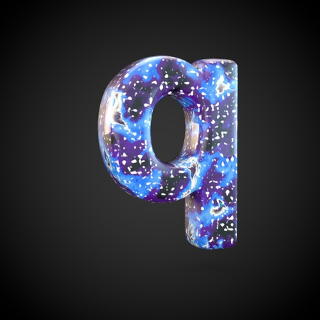 Acrylic pouring letter Q lowercase. 3d render font isolated on black background