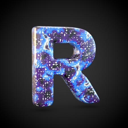 Acrylic pouring letter R uppercase. 3d render font isolated on black background