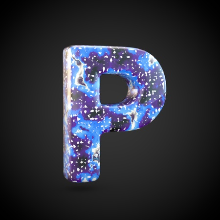 Acrylic pouring letter P uppercase. 3d render font isolated on black background