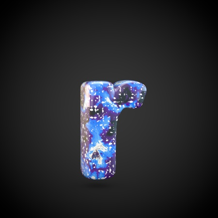 Acrylic pouring letter R lowercase. 3d render font isolated on black background 스톡 콘텐츠