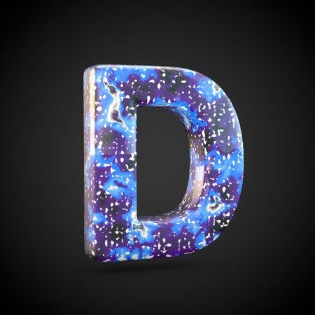 Acrylic pouring letter D uppercase. 3d render font isolated on black background