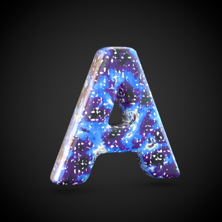 Acrylic pouring letter A uppercase. 3d render font isolated on black background 스톡 콘텐츠