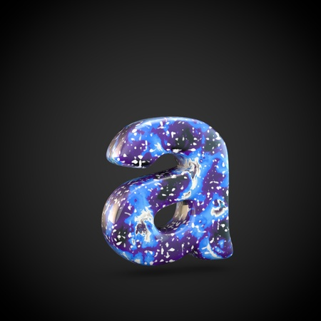 Acrylic pouring letter A lowercase. 3d render font isolated on black background 스톡 콘텐츠