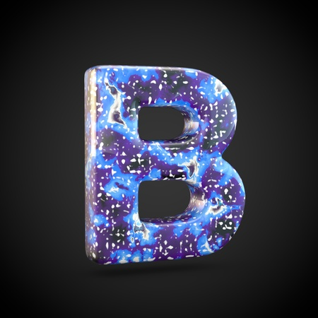 Acrylic pouring letter B uppercase. 3d render font isolated on black background 스톡 콘텐츠