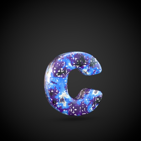 Acrylic pouring letter C lowercase. 3d render font isolated on black background 스톡 콘텐츠