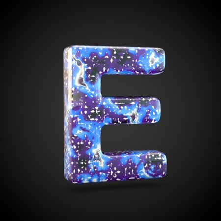 Acrylic pouring letter E uppercase. 3d render font isolated on black background