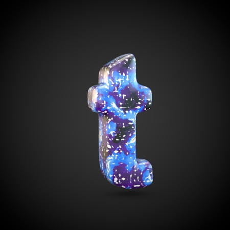Acrylic pouring letter T lowercase. 3d render font isolated on black background 스톡 콘텐츠