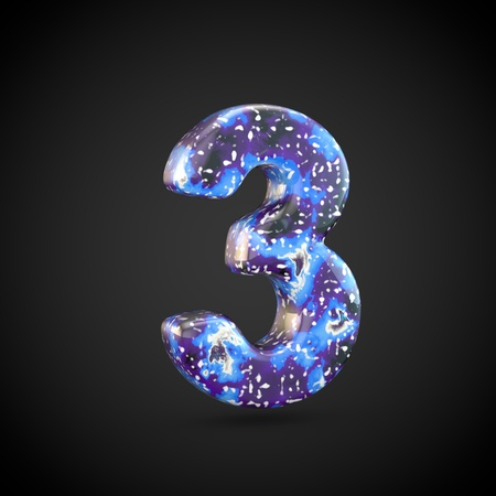 Acrylic pouring number 3. 3d render font isolated on black background