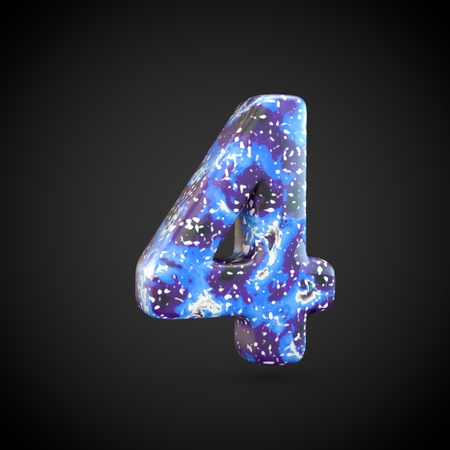 Acrylic pouring number 4. 3d render font isolated on black background