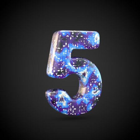 Acrylic pouring number 5. 3d render font isolated on black background Stockfoto