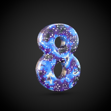 Acrylic pouring number 8. 3d render font isolated on black background 스톡 콘텐츠