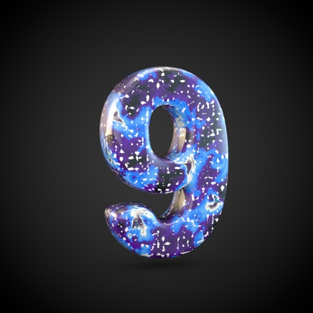 Acrylic pouring number 9. 3d render font isolated on black background