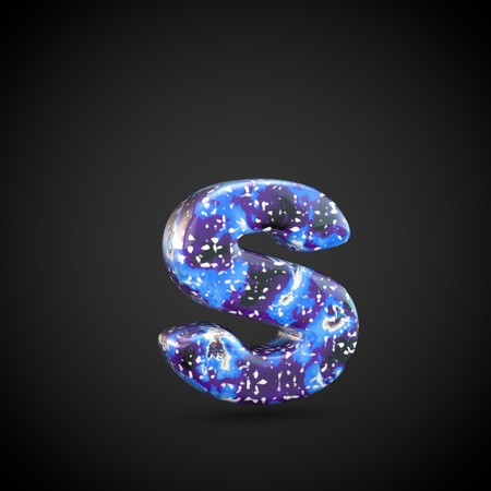 Acrylic pouring letter S lowercase. 3d render font isolated on black background
