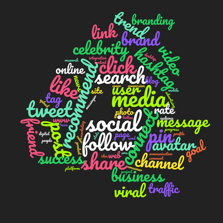 Word cloud number 4. Vector colorful font made with social media words isolated on black background
