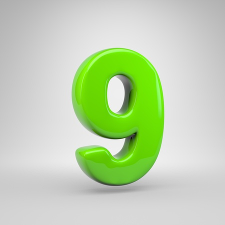 UFO green color number 9. 3D render green font isolated on white background