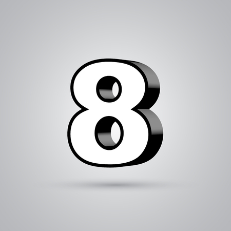 White 3D vector number 8 with black border. Glossy font with light reflection and shadow isolated on white background