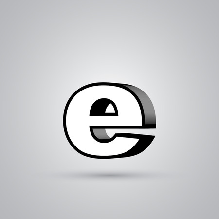 White 3D vector letter E lowercase with black border. Glossy font with light reflection and shadow isolated on white background Illustration