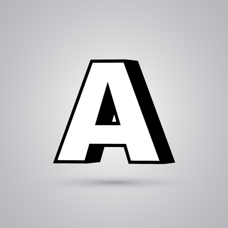 White 3D vector letter A uppercase with black border. Glossy font with light reflection and shadow isolated on white background