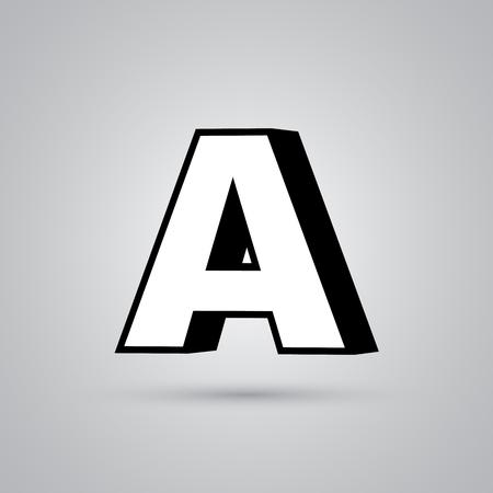Weißer 3D-Vektor-Buchstabe Ein Großbuchstabe mit schwarzem Rand. Glänzende Schrift mit Lichtreflexion und Schatten auf weißem Hintergrund