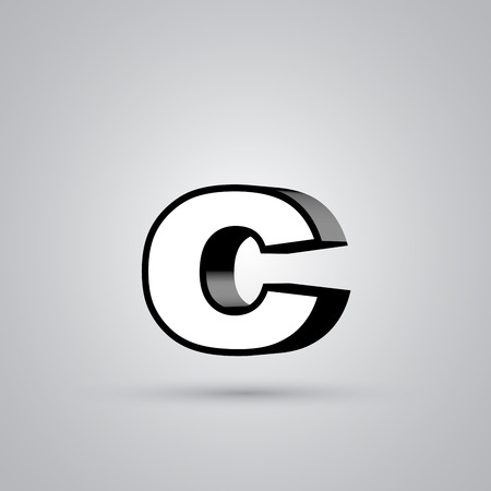 White 3D vector letter C lowercase with black border. Glossy font with light reflection and shadow isolated on white background