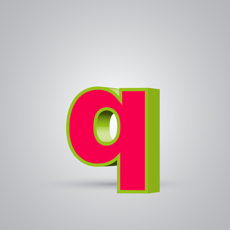 Watermelon 3D vector letter Q lowercase. Red font with glossy green border and light reflection isolated on white background