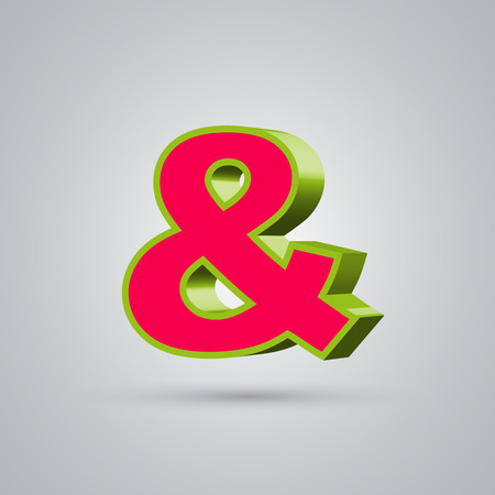 Watermelon 3D vector ampersand symbol. Red font with glossy green border and light reflection isolated on white background Illustration