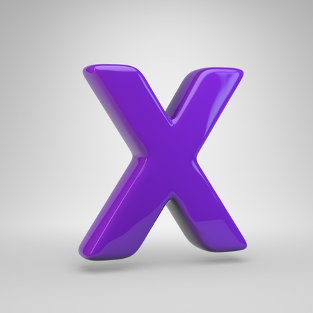Proton purple color letter X uppercase. 3D render glossy font isolated on white background Banque d'images