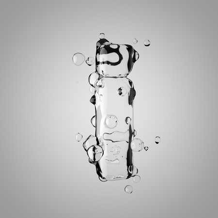 3D water letter I lowercase. 3D rendering transparent water font with drops isolated on light background.