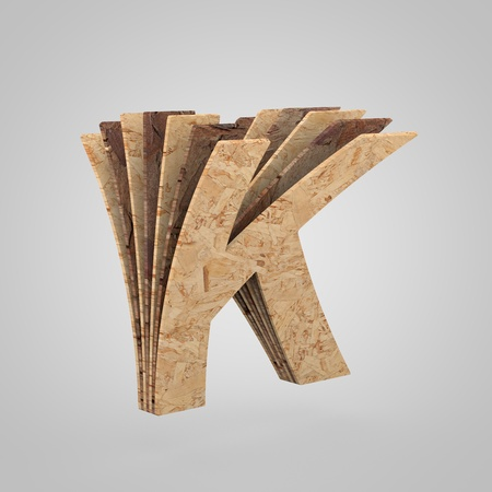 3D wooden letter K uppercase. 3D rendering chipboard font. Cutaway plywood alphabet isolated on white background