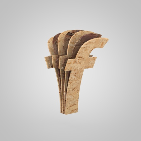 3D wooden letter F lowercase. 3D rendering chipboard font. Cutaway plywood alphabet isolated on white background