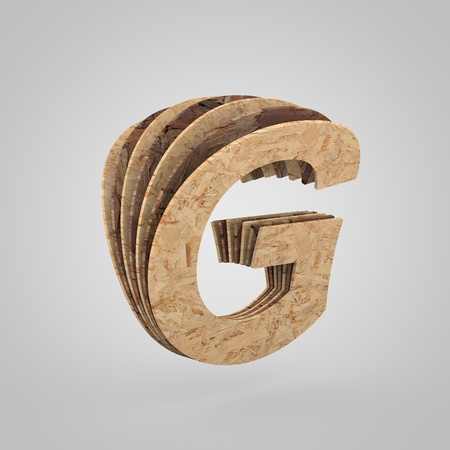 3D wooden letter G uppercase. 3D rendering chipboard font. Cutaway plywood alphabet isolated on white background