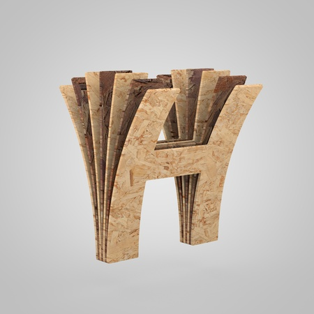 3D wooden letter H uppercase. 3D rendering chipboard font. Cutaway plywood alphabet isolated on white background