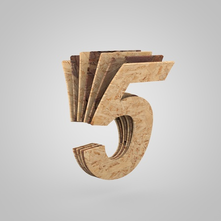 3D wooden number 5. 3D rendering chipboard font. Cutaway plywood alphabet isolated on white background