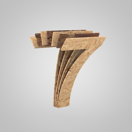 3D wooden number 7. 3D rendering chipboard font. Cutaway plywood alphabet isolated on white background