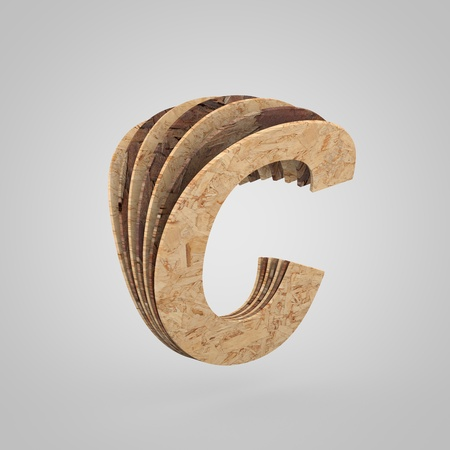 3D wooden letter C uppercase. 3D rendering chipboard font. Cutaway plywood alphabet isolated on white background
