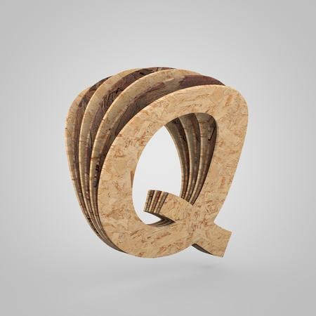 3D wooden letter Q uppercase. 3D rendering chipboard font. Cutaway plywood alphabet isolated on white background Stock Photo