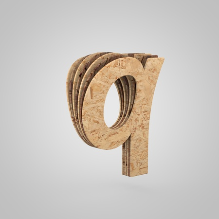 3D wooden letter Q lowercase. 3D rendering chipboard font. Cutaway plywood alphabet isolated on white background