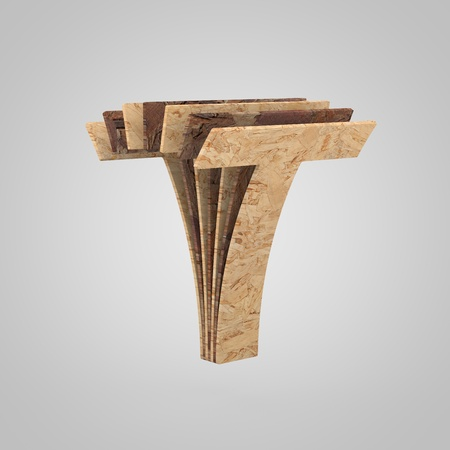3D wooden letter T uppercase. 3D rendering chipboard font. Cutaway plywood alphabet isolated on white background
