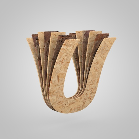 3D wooden letter U uppercase. 3D rendering chipboard font. Cutaway plywood alphabet isolated on white background Stock Photo