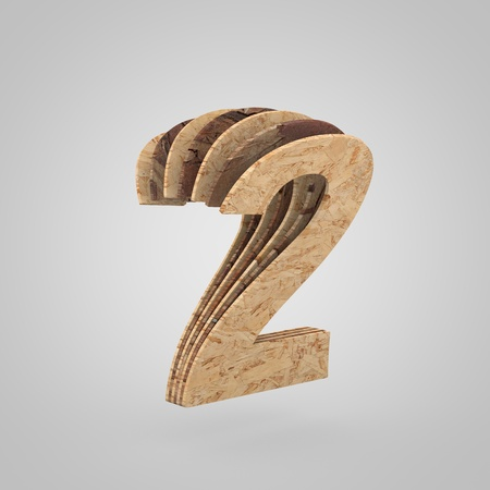 3D wooden number 2. 3D rendering chipboard font. Cutaway plywood alphabet isolated on white background