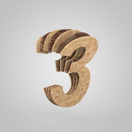 3D wooden number 3. 3D rendering chipboard font. Cutaway plywood alphabet isolated on white background