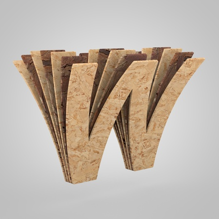 3D wooden letter W uppercase. 3D rendering chipboard font. Cutaway plywood alphabet isolated on white background