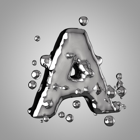3D mercury letter A uppercase. 3D rendering liquid metal font with drops isolated on light background.