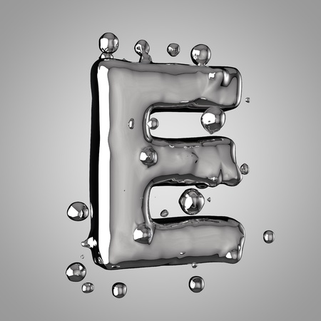 3D mercury letter E uppercase. 3D rendering liquid metal font with drops isolated on light background.