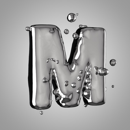 3D mercury letter M uppercase. 3D rendering liquid metal font with drops isolated on light background.
