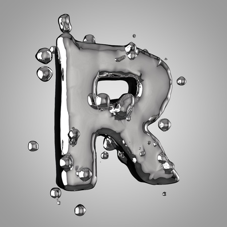 3D mercury letter R uppercase. 3D rendering liquid metal font with drops isolated on light background.