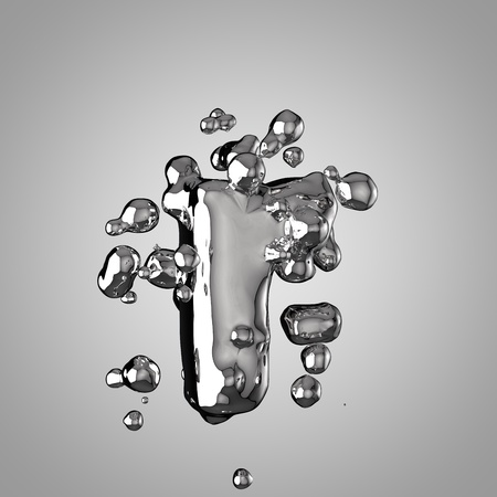 3D mercury letter R lowercase. 3D rendering liquid metal font with drops isolated on light background.