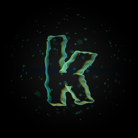 Microscopic letter K lowercase. 3D rendered nano font with tiny particles isolated on black background Banque d'images - 115614304