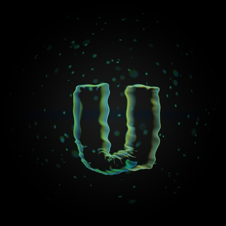 Microscopic letter U lowercase. 3D rendered nano font with tiny particles isolated on black background Banque d'images - 115614430